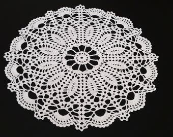 33 Cm 13 Inches Crocheted Doily Crochet Doily White Doilie Lace Tablecloth  Small Round Crochet Doily