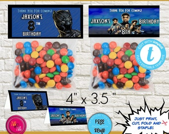Editable Black Panther Candy Bag Topper Printable, Black Panther Birthday Candy Bag, Black Panther Treat Bag, Black Panther Favor Bag Topper
