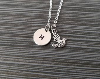 Silver Dove Necklace - Dove Charm Pendant - Personalized Necklace - Custom Gift - Initial Necklace - Personalized Gift - Bird Jewelry