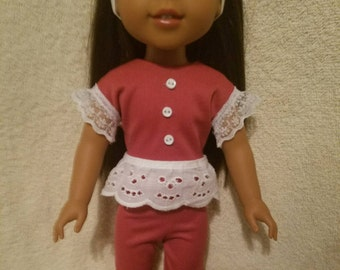 """Two Piece Burgundy Outfit  to fit 14.5"""" Dolls including those from the American Girl Doll Clothes Company"""