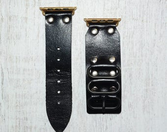 Leather apple watch band 42mm / 38mm // Black iwatch band - apple watch accessories - apple watch strap leather - rose gold lugs adapter