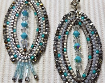 decorative earrings silver/turquoise