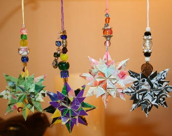 Origami Set of 4 Small Four Seasons Hanging Ornaments