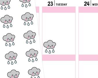 Kawaii Rain Planner Stickers, Kawaii Rain Stickers, Rain Stickers, Kawaii Stickers, Cute Stickers, Weather Stickers