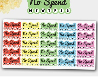 No Spend Planner Stickers, No Spend Stickers, No Spend  Weekly Stickers,Weekly Stickers, No Spend Planner