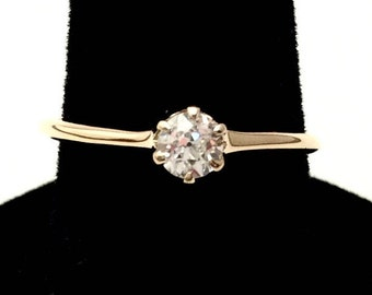 Vintage 14k Yellow Gold Diamond Solitaire
