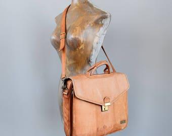 Vintage Leather Briefcase Laptop Bag
