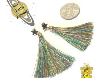 Rainbow Tassel Earrings, Black Star Stud Earrings, On Trend Gift, Gold Tassel Earrings, Pretty Party Earrings, Rainbow Star Earring Gift
