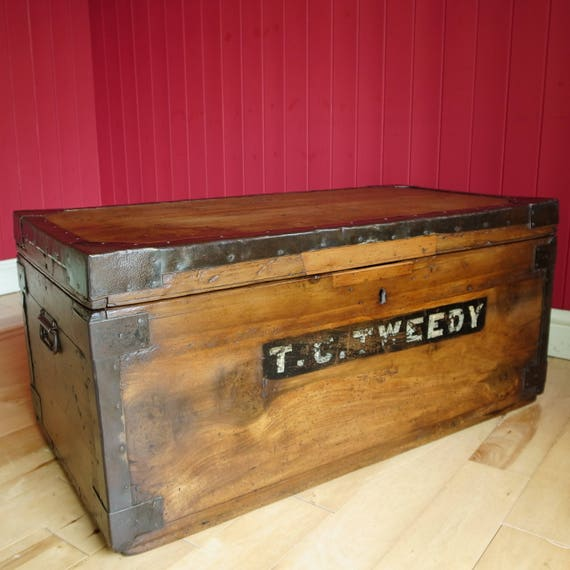 Antique Military WWI Campaign Chest Camphor Wood Storage Trunk Coffee Table Reclaimed Rustic Industrial Furniture