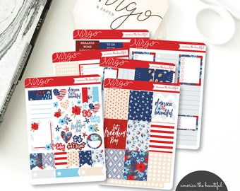 Vertical Kit - America the Beautiful Planner Sticker Kit - 6 Sheet Sticker Kit- Fourth of July Sticker kit - Glossy or Matte ABKV