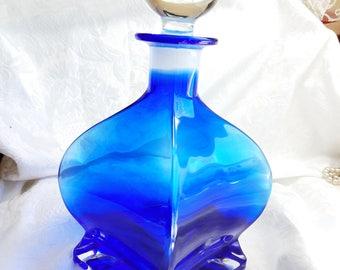 Vintage Cobalt Blue Decanter, Blue Glass Bottle with Glass Stopper, Large Cobalt Glass Decanter, Mid Century Modern Design, Vintage Glass