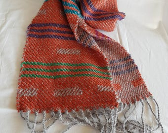 Hand woven scarf Long scarf Orange scarf with fringe Handmade Free shipping
