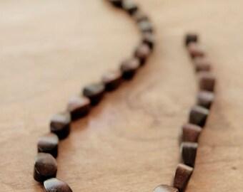 WK40, brown bead, black bead, wood bead, teardrop bead, ebony wood bead, natural wood bead, spacer beads, delicated ebony wood teardrop bead