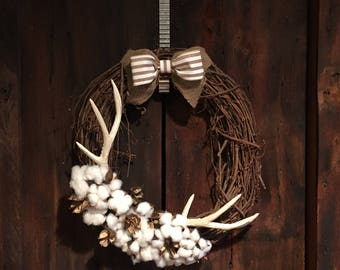 Rustic Deer Antler Cotton Wreath with Burlap Bow, Antler Wreath, Cotton Wreath
