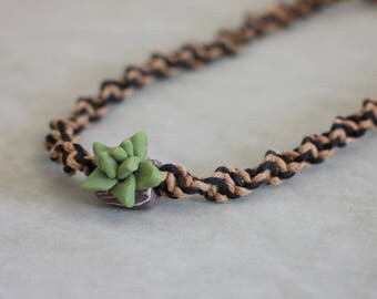 Succulent Necklace, Hemp Choker, Clay Polymer, Fashion Accessory