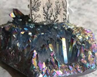 German Psilomelane Dendrite Ring, Size 7