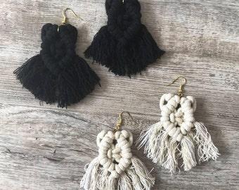Macrame Earrings with Fringe