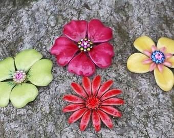 1970s Enamel Flower Pin lot