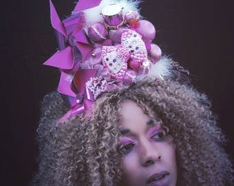 Giant pinwheel pink bow candyfloss headpiece - festival - costume