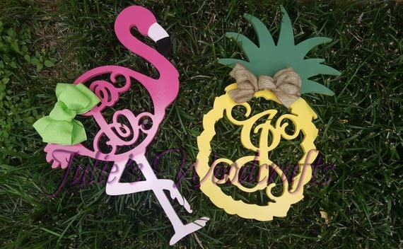 Monogram Pineapple Wooden Door Hanger Welcome Summer Sign