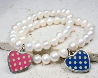 Polka Dot Heart Charm Pearl Bracelet