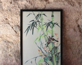 Vintage Chinese Ink on Silk Painting of Two Birds
