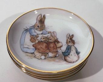 4 Mini Beatrix Potter Peter Rabbit Plates