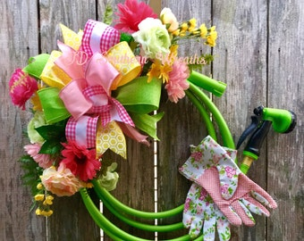 Floral Wreath, Spring Wreath, Garden Hose Wreath, Summer Wreath, Garden  Wreath