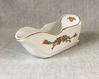 Vintage Tienshan Christmas Sleigh Gravy Boat, Holiday Poinsettia and Ribbons Dishes