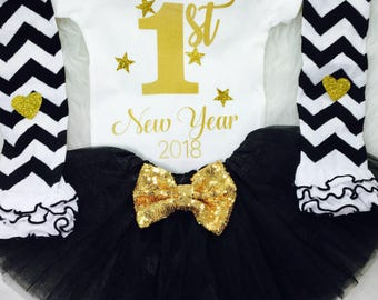 Baby Girl's 1st New Years Outfit, Baby Girl First New Years Eve Outfit, New Years Outfit, Happy New Year Outfit, 2018, Baby Girl Clothes
