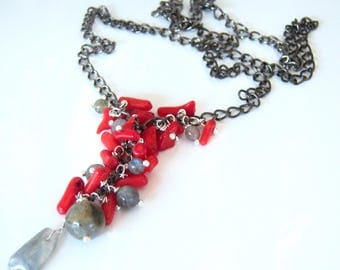 Cluster, Labradorite, bamboo coral necklace Red