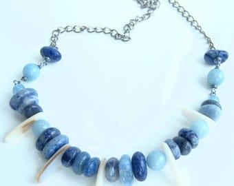 Blue tones with blue jade and Sodalite necklace