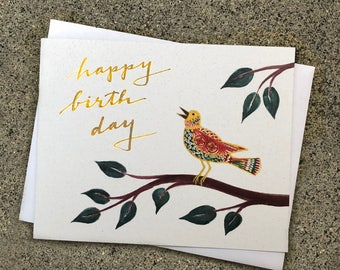 Cloisonné Birthday Bird Card Red Green