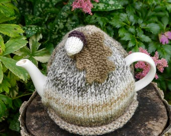 Autumn Marble Tea Cosy, Hand Knitted Fall Tea Cozy, Oak Leaf and Acorn