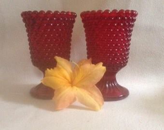 Pair of Ruby Red Hobnail Pedestal Votive Candle Holders