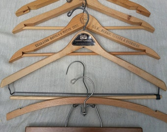 lot wood hangers,6, vintage wood hangers, antique hangers, clother hangers, vintage clothes hangers, advertsising hangers
