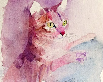 pink cat  original watercolor -  original  painting of a pink cat's head - pet art - kitty painting