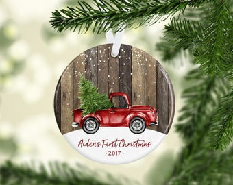 Baby Boy First Christmas Ornament 2017, Babys First Christmas, Truck Ornament, Christmas Truck, Babys 1st Christmas, Christmas Gift for Baby