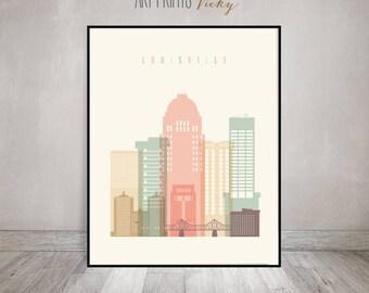 Louisville Kentucky Print Pastel Vertical Skyline Poster | ArtPrintsVicky.com