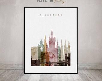 Edinburgh wall art, Edinburgh art print, watercolor Poster, Wall art, Scotland, skyline, Gift, Home Decor, Travel decor, ArtPrintsVicky