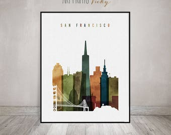 San Francisco Watercolor Print Skyline Poster | ArtPrintsVicky.com