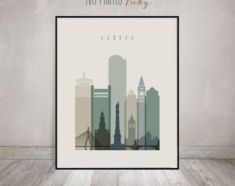 Boston print, Poster, Wall art, Boston skyline, Massachusetts, City poster, Typography art, Home Decor, Digital Print, ArtPrintsVicky