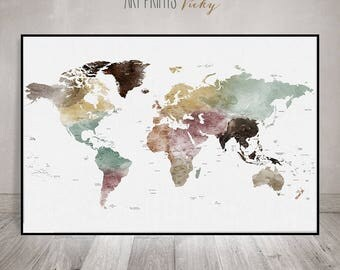 World map poster, World map wall art, Large world map, Detailed world map print, watercolor travel map, office decor, gift, ArtPrintsVicky.