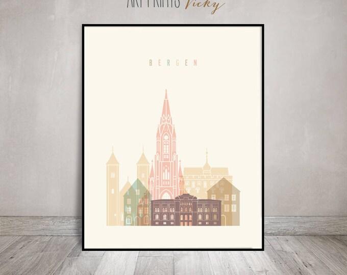 Bergen skyline print, Bergen city poster, Norway cityscape print, Wall art, City prints, Travel gift, Home Decor, Wall decor, ArtPrintsVicky