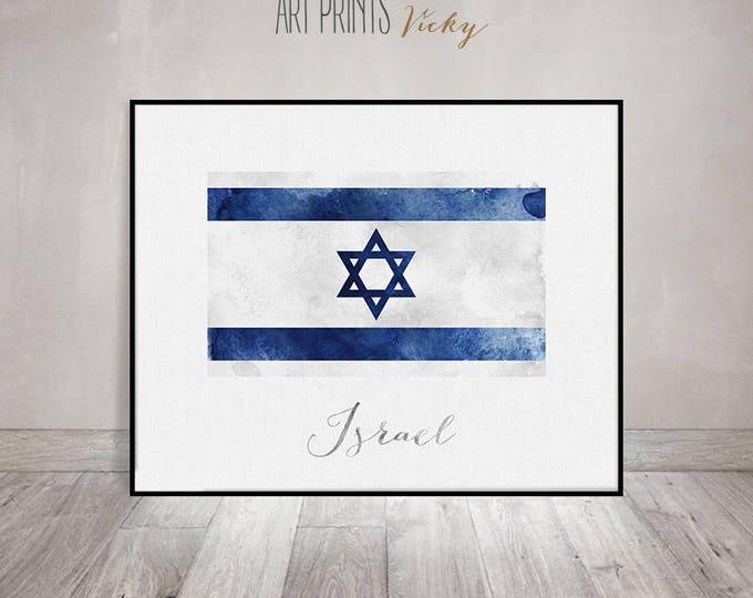 Israel flag print, Israel art poster, watercolor, travel, Wall art, watercolor flag, office decor, Home Decor gift Wall Decor ArtPrintsVicky