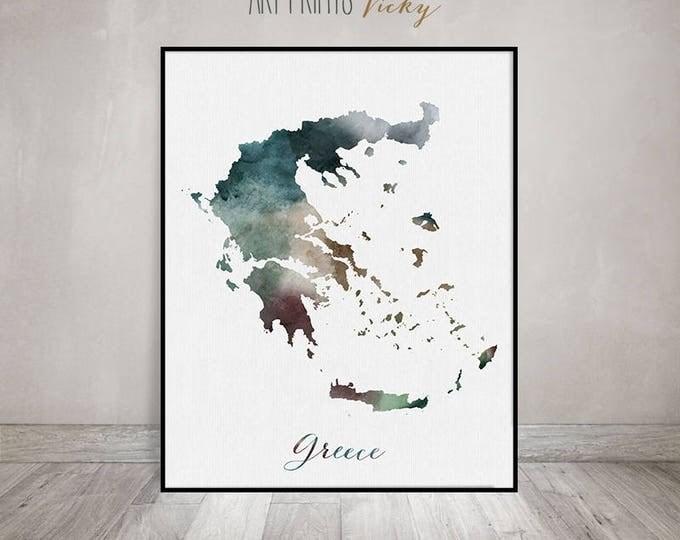 Greece watercolor map, Greece Wall art, map poster, Greece watercolor print Greece map poster, Greecem map painting, Fine art ArtPrintsVicky