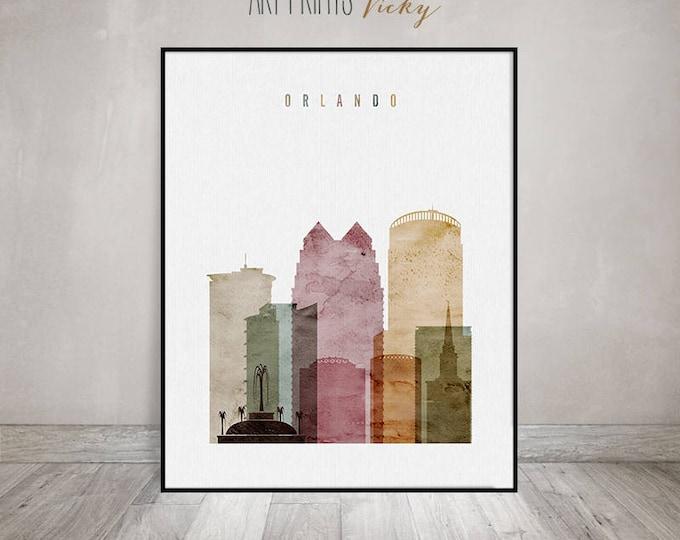 Orlando art print, Orlando watercolor skyline, Travel poster, Wall art, Florida cityscape, Travel gift, Wall Decor, ArtPrintsVicky
