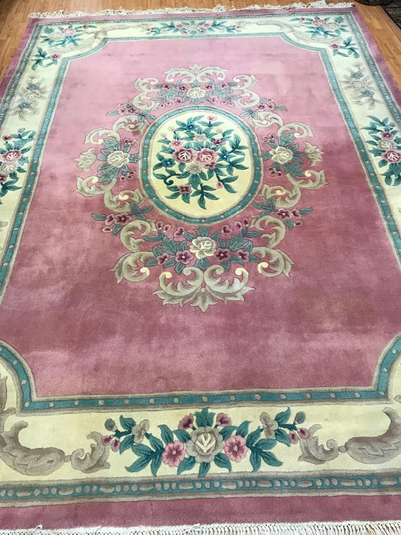 "8'1"" x 11'1"" Chinese Aubusson Oriental Rug - Full Pile - Hand Made - 100% Wool"