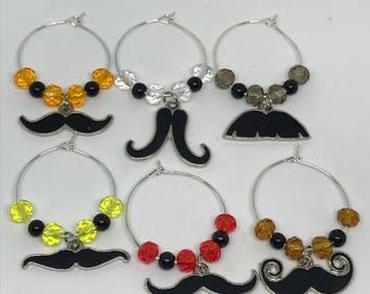 Set of 6 mustache themed wine glass charms