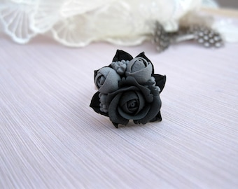 Anniversary gift-for-girlfriend birthday gift Everyday ring Black flower ring Rose ring Adjustable ring Boho ring for women Simple ring